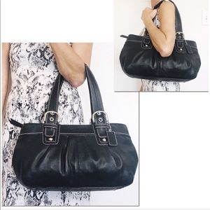 Coach Black Leather Pleated Business Tote Carryall
